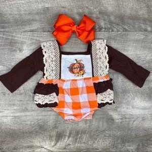 Baby girls boutique thankful pumpkin romper
